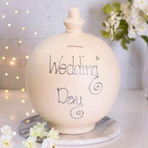 Extra Large 'Wedding Day' Silver on Cream Money Pot