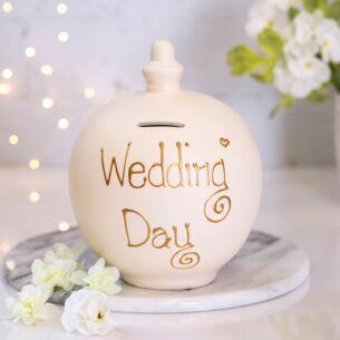 'Wedding Day' Gold on Cream Money Pot
