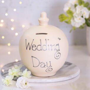 'Wedding Day' Silver on Cream Money Pot