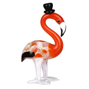 Glass Flamingo With Hat