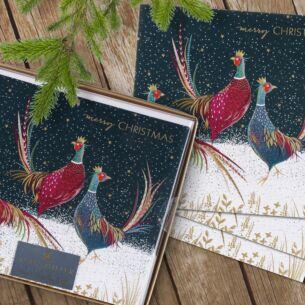 'Christmas Pheasants' Box of 8 Luxury Christmas Cards