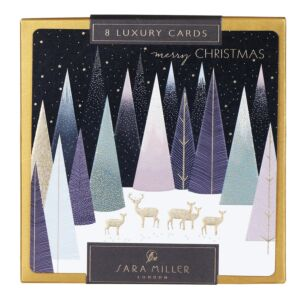 Gold Deer in Pastel Forest Box of 8 Luxury Christmas Cards