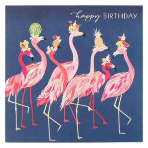 Flamingo Fruit Hats Birthday Card