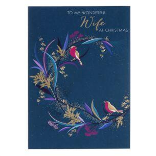 Wonderful Wife Bird Wreath Christmas Card