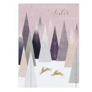 Wonderful Sister - Gold Hares Christmas Card