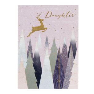 Wonderful Daughter - Deer In Forest Christmas Card