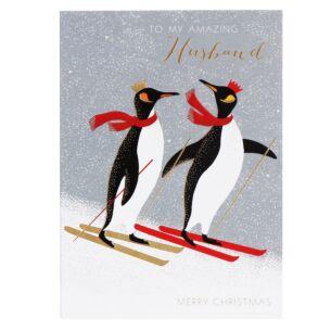 Amazing Husband - Penguins Skiing Christmas Card