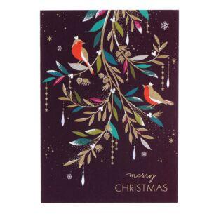 Merry Christmas Robins in Foliage Christmas Card