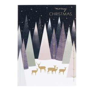 Deer in Pastel Forest Christmas Card