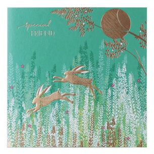Sara Miller Leaping Rabbits Special Friend Card