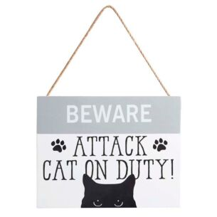 'Attack Cat on Duty' Sign