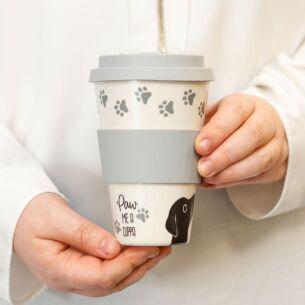 Transomnia 'Paw Me A Cuppa' Dog Bamboo Travel Mug