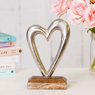 Transomnia Silver Metal Heart on Wooden Base Decoration