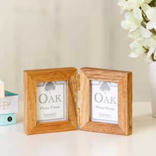 Oak Twin Folding Mini Photo Frame