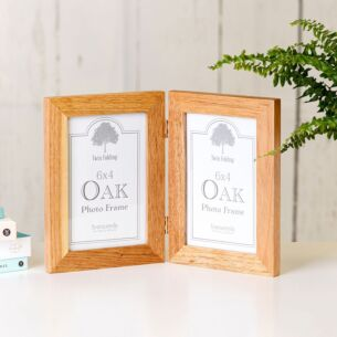 Oak Twin Folding 6x4 Photo Frame