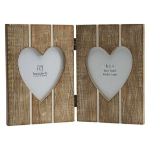 Transomnia Twin Folding Hearts 6x4 Photo Frame