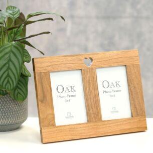Verona Heart Oak Twin Photo Frame