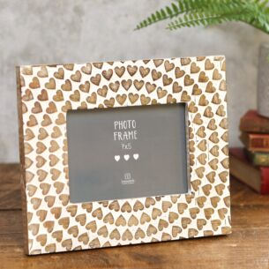 Carved Wooden Hearts Photo Frame 7 x 5