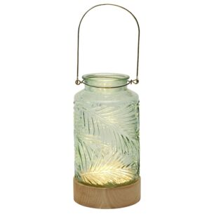 Fern LED Glass Lantern with Wooden Base