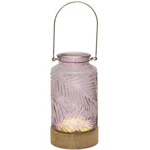 Cerise LED Glass Vase with Wooden Base
