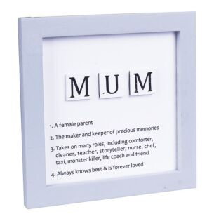 'Mum' Tiled Definition Wooden Sign