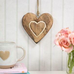Almalfi Wooden Heart Hanging Decoration