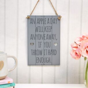 'An Apple A Day' Slatted Sign