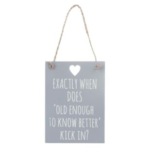 'Old Enough To Know Better' Wooden Sign