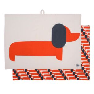 Orla Kiely Dachshund Persimmon Dachshund Tea Towels - Set of 2