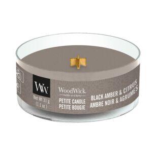 WoodWick Black Amber & Citrus Petite Candle