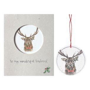 'Wonderful Husband' Christmas Card with Tree Decoration