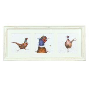 A Trio of Pheasants Triple Print With Cream Frame