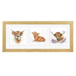 A Trio of Highland Cows Triple Print With Oak Frame