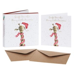 'Giraffe Yourself' Set of 8 Luxury Gold Foiled Christmas Cards