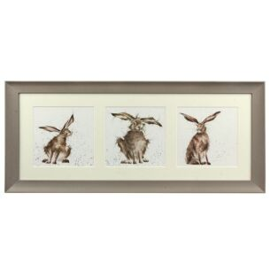 A Trio Of Hares Triple Print with Taupe Frame