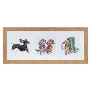 'A Trio Of Dogs' Triple Print with Oak Frame