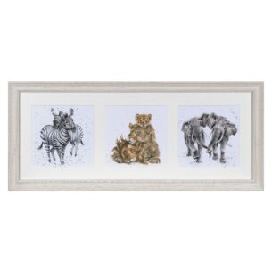 'A Zoology Trio' Triple Print with Cream Frame