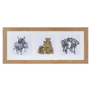 'A Zoology Trio' Triple Print with Oak Frame