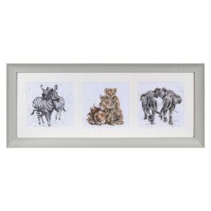 'A Zoology Trio' Triple Print with Sage Frame