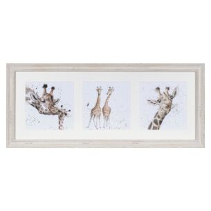 'A Trio of Giraffes' Triple Print with Cream Frame