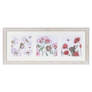 'A Cottage Garden' Triple Print with Cream Frame