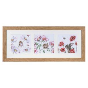 'A Cottage Garden' Triple Print with Oak Frame