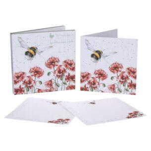 Set Of 12 'Flight of The Bumblebee' Bee Notecards