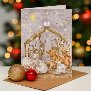 'Away in a Manger' Advent Calendar Card