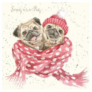 'Snug as a Pug' Luxury Gold Foiled Christmas Card