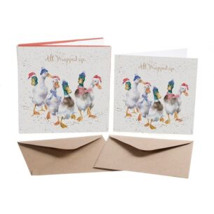 'All Wrapped Up' Set of 8 Luxury Gold Foiled Christmas Cards