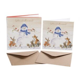 'Gathered Around' Set of 8 Luxury Gold Foiled Christmas Cards