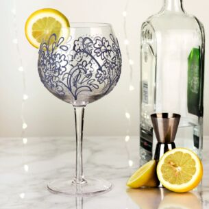 Hand Painted Blue Paisley Gin Goblet