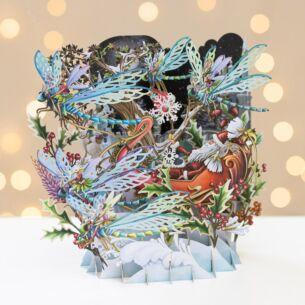Me & McQ Santa's Dragonflies 3D Christmas Card