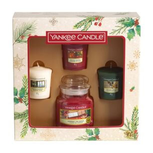 Magical Christmas Morning Small Jar and Three Votive Candles Gift Set